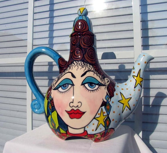 Petite Teapot for Two Handpainted Ladies Faces on Etsy