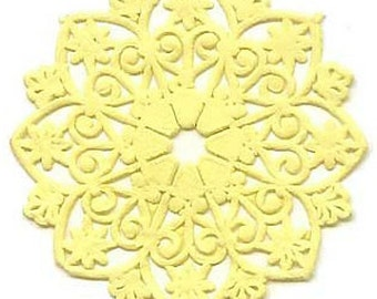 Dresden Trim Matte Yellow Medallions Halos Paper Germany 4 Die Cuts Christmas