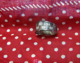 Ring Sterling Silver 925 Stamp Adjustable Woven Pattern