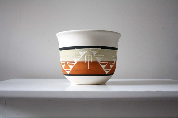 vintage. handmade. pottery. vase. planter. geometric aztec style. earthenware.