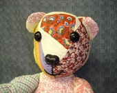 Patchwork Teddy Bear Recycled Quilt Top