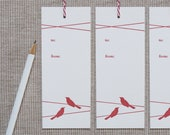 SALE - 6 Letterpress Christmas Gift Tags - Holiday Bird Tags (Set of 6)