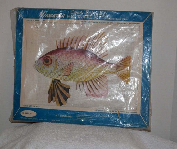 Crewel Embroidery - Fish Picture 11 X 14 inches - Linen
