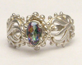 Handmade Sterling Silver Mystic Topaz Filigree Gemstone Ring