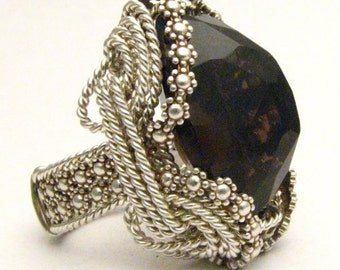 Handmade Sterling Silver Berry Wire Wrap Smoky Quartz Ring