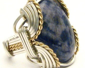 Handmade Wire Wrap Two Tone Sterling Silver/14kt Gold Filled Blue Sodalite Ring