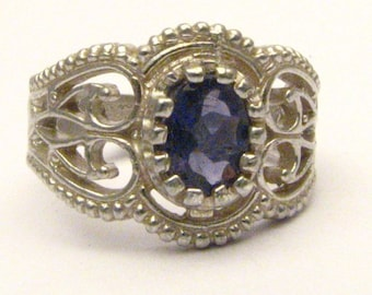 Handmade Sterling Silver Filigree Crown Iolite Ring