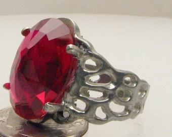 Handmade Sterling Silver Man Made Ruby Lava Ring