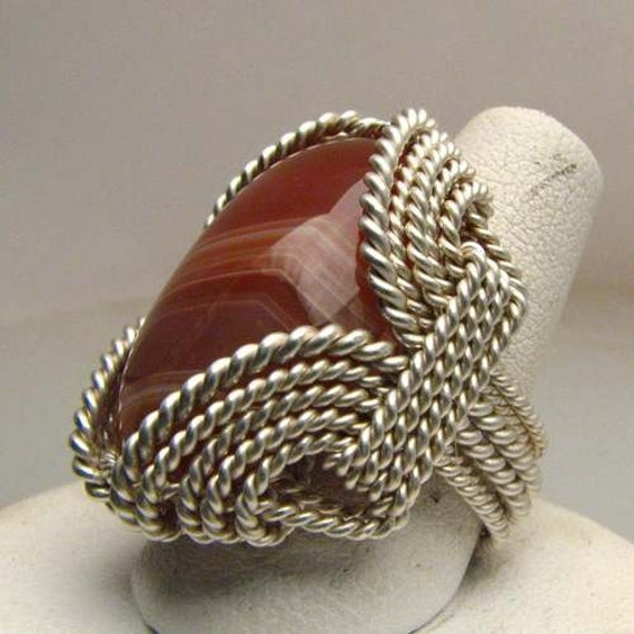 Handmade Sterling Silver Wire Wrap Sardonyx Cabochon Ring