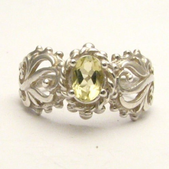 Handmade Sterling Silver Lemon Citrine Filigree Gemstone Ring