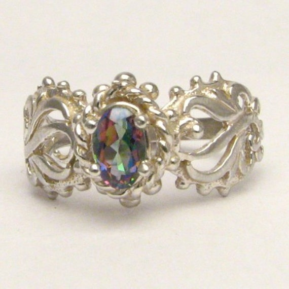 Handmade Sterling Silver Mystic Topaz Filigree Gemstone Ring