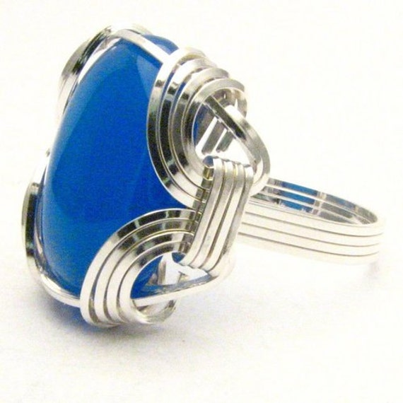 Handmade Sterling Silver Wire Wrap Blue Onyx Ring