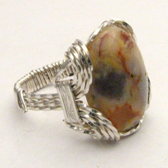 Handmade Sterling Silver Wire Wrap Crazy Lace Agate Cabochon Ring