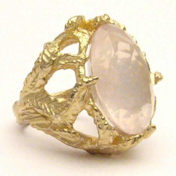 Handmade 14kt Gold Rose Quartz Claw Ring 18x13mm 12.5ct 11 Grams of Gold