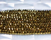Metallic Gold, Glass Rondelles, 4 x 3mm, 50pc strand, Chinese crystal Beads, Jewelry Beads, Jewelry Supplies, Jewellery Supplies