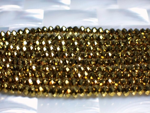 48pcs 4mm Metallic Gold Chinese Crystal Glass Rondelles Bead Strand Jewelry Jewellery Craft Supplies