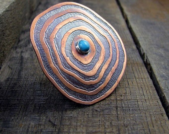 Copper and Turquoise Shield Ring - MADE TO ORDER