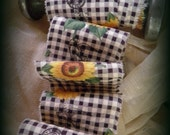 French Hand Stamped Trim Vintage French Inspired Sunflowers Hand Stamped Ribbon - Paris Postage and Bird