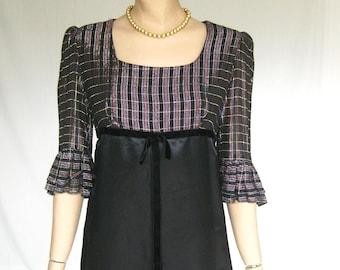 Vintage 60s Mod Satin  Metallic   Dress