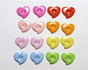 Cute HEART BUTTONS mix RAINBOW color 16pcs
