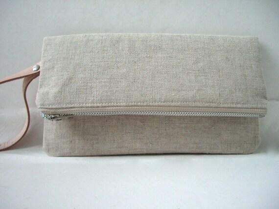 Wristlet, Linen Clutch Purse - Natural Linen, Leather Wrist Strap (Silver tone Zipper)