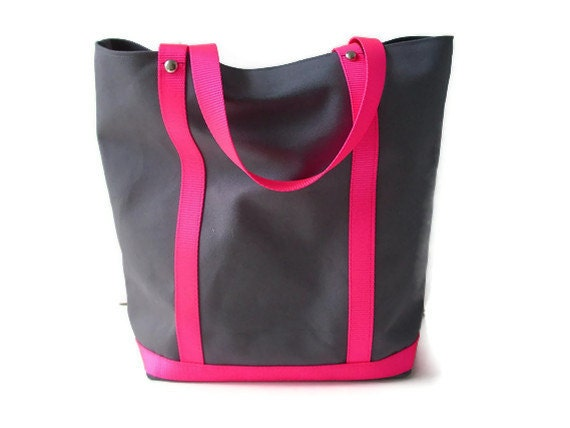 Tote Bag - Gray Canvas and Neon Pink Handles. SALE (Last One)