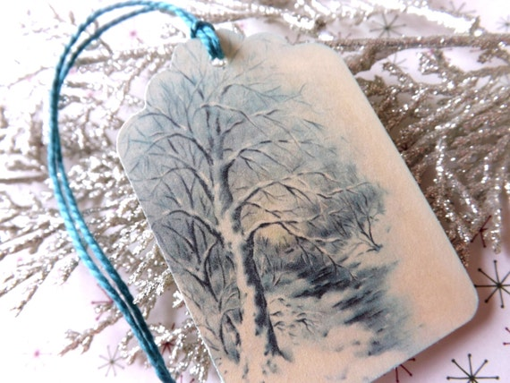 Vintage Winter Wood Scene tags // Blue and White // Wedding // Set of 6