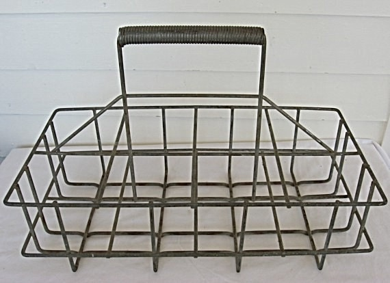 Vintage 1940's Industrial Steel Rods 8 Bottle Carrier w Handle, Milk Bottle, Oil Bottles, Canning Jars
