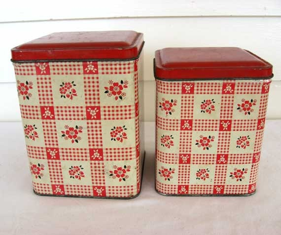 Set of 2 Vintage 1950 Red and White Floral and Check Lithographed Tin Kitchen Storage Canisters w Lids