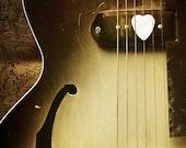 Guitar Lover Photography Photo - Heart, vintage, sephia, acoustic, strings, guitar pick - Guitar Love - 8 x 10 Fine Art Print
