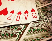 Love Cards Photograph Photo - Heart, playing cards, vintage, game, poker, deck - Pocket Full of Love - 8 x 10 Fine Art Print