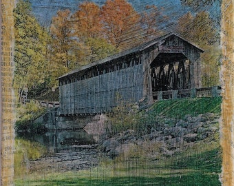 ZNE Mixed Media Collage - Art by ruby -The Old Covered Bridge - 4x4 Canvas Panel