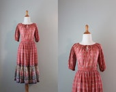 Vintage 70s Dress / 1970s Gypsy Dress Set / Sheer Gauzy Cotton Blouse and Skirt