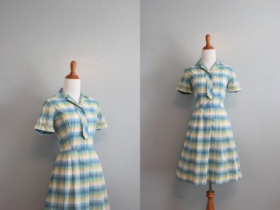 Vintage 60s Dress / 1960s Plaid Day Dress / 60s Cotton Dress