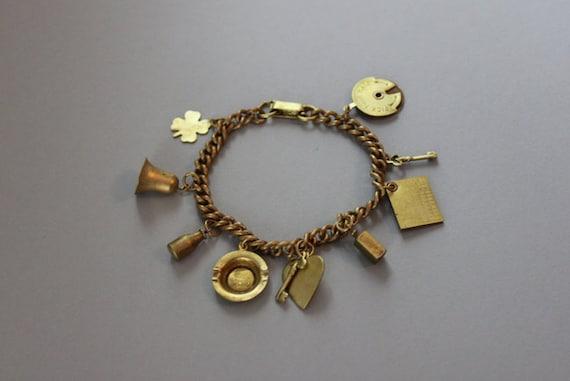 Vintage Charm Bracelet / 1940s Brass Bracelet / Game Night Charm Bracelet