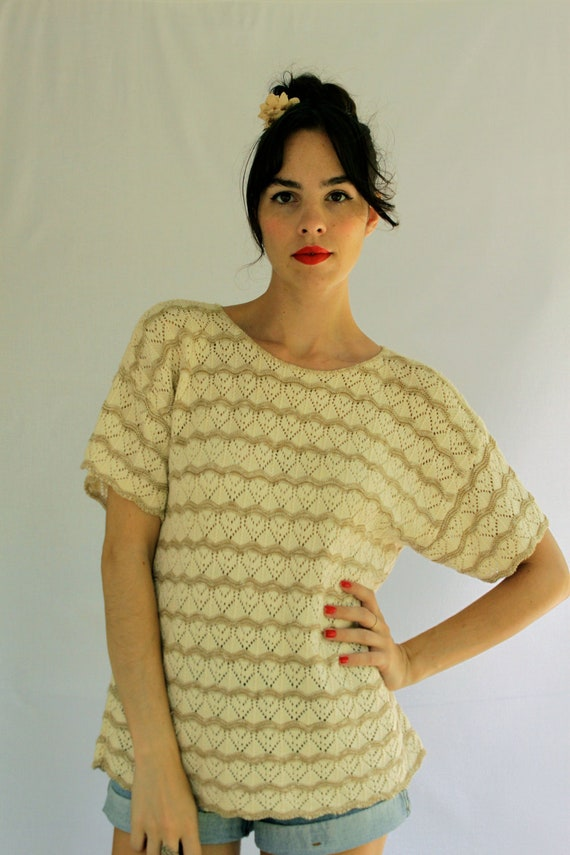 1990s Cream and Taupe Crochet Knit Size S-M