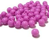 8mm Smooth Round Acrylic Beads in Rose purple 50 beads