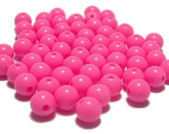 6mm Smooth Round Acrylic Beads in bubblegum pink 100pcs