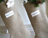 Burlap Stocking, Personalized Christmas Stocking, Christmas Stocking