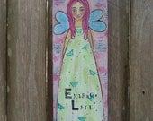 Inspirational Folk Art Angel Saint Painting Reclaimed Wood FREE SHIPPING
