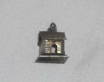 SALE Antique Sterling Silver Mini Birdhouse Cabin House Charm
