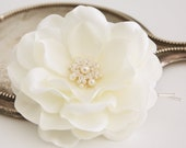 Ivory Whimsical Magnolia Bridal Hair Flower Accessory Fascinator with Swarovski Pearls and Crystals