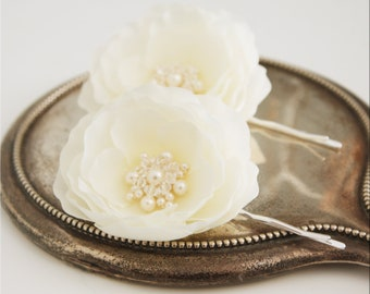 Bridal Bridesmaid Small Ivory Whimsical Flower Hair Pin Fascinator Set of Two