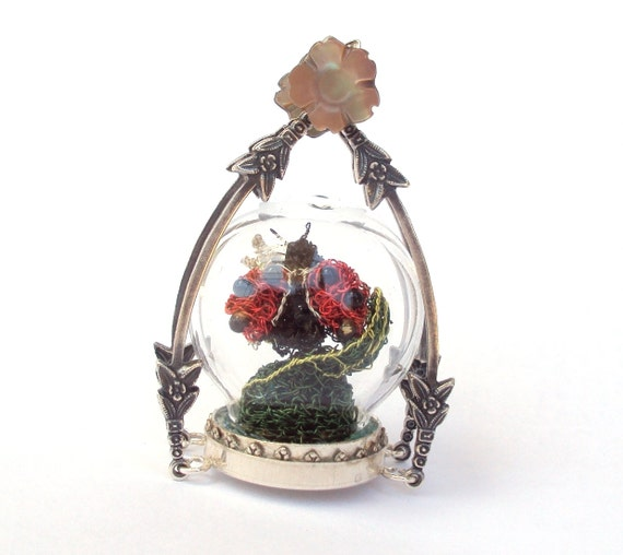 Ladybug pendant miniature art in a glass globe terrarium, necklace pendant
