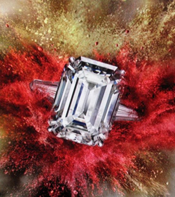 Antique Engagement Ring 14k White Gold Emerald Cut Cubic Zirconium