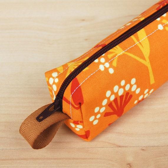 Orange Flowers Skinny Mini CA Roll (pencil or makeup case)