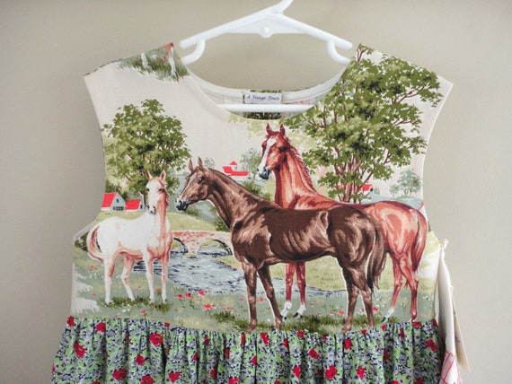 horse lovers girls custom boutique dress from vintage fabric -- size 7