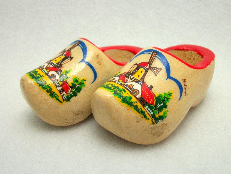Vintage Mini DUTCH Clogs Wooden Shoe Souvenirs