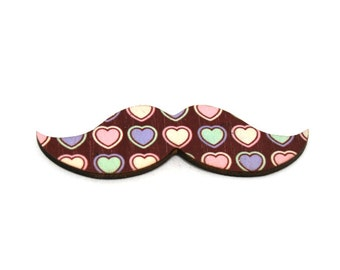 Moustache Brooch, Heart Pin, Movember Facial Hair Accessory, Father's Day Gift