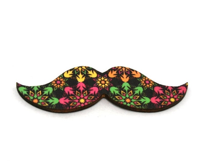 Moustache Brooch, Flower Pin, Movember Facial Hair Accessory, Father's Day Gift